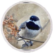 Chickadee Breakfast With Decorations Round Beach Towel