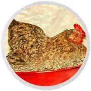 Chicken Hen Painting Art Print Round Beach Towel