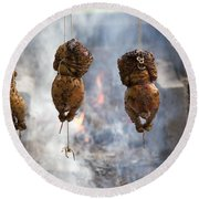 Chickens Roasting On Open Pit Fire Round Beach Towel