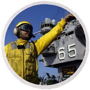 Chief Aviation Boatswains Mate Directs Round Beach Towel by Stocktrek Images