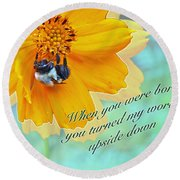 Child Birthday Greeting From Parent Parents - Cosmos And Bumblebee Round Beach Towel