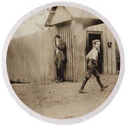 Child Goes To Work At Mill In Alabama - 1910 Round Beach Towel