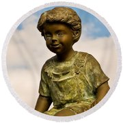 Child In The Clouds Round Beach Towel