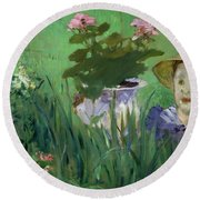 Child In The Flowers Round Beach Towel