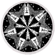 Children Animals Kaleidoscope Black And White Round Beach Towel