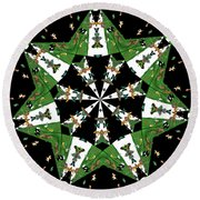 Children Animals Kaleidoscope Round Beach Towel