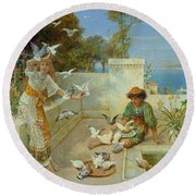 Children By The Mediterranean  Round Beach Towel