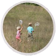 Children Collecting Insects Round Beach Towel by Ted Kinsman