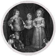 Children Of Charles I Round Beach Towel