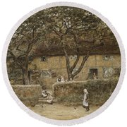 Children Outside A Cottage Round Beach Towel