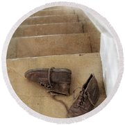 Child's Shoes By Stairs Round Beach Towel