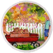 Chilrens Art-boy And Girl With Wagon And Puppies Round Beach Towel