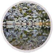 Chimney Pond Reflections Round Beach Towel