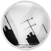 Chimneys Round Beach Towel by David Ridley