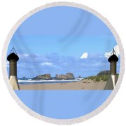 Chimneys Of Cannon Beach Round Beach Towel
