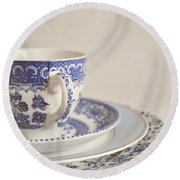 China Cup And Plates Round Beach Towel by Lyn Randle