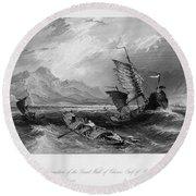 China: Gulf Of Bohai, 1843 Round Beach Towel