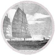 China: Junk, 1857 Round Beach Towel