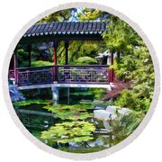 Chinese Gardens In Portland Oregon Round Beach Towel