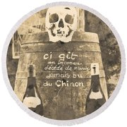 Chinon Wine  Round Beach Towel