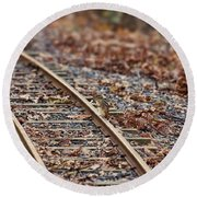 Chipmunk On The Railroad Track Round Beach Towel