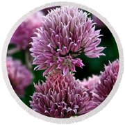 Chive Blossom Round Beach Towel