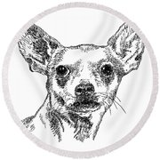 Chiwawa-portrait-drawing Round Beach Towel