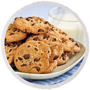 Chocolate Chip Cookies And Milk Round Beach Towel by Elena Elisseeva