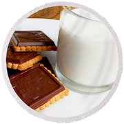 Chocolate Coated Butter Cookies And Milk Round Beach Towel