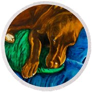 Chocolate Lab On Couch Round Beach Towel