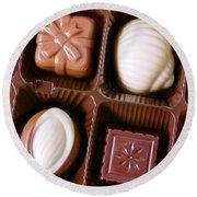 Chocolates Closeup Round Beach Towel