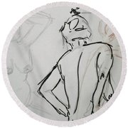 Chris - Life Drawing Round Beach Towel