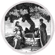 Christ & Woman Of Samaria Round Beach Towel