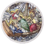 Christ And Apostles Round Beach Towel