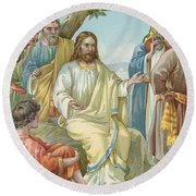 Christ And His Disciples Round Beach Towel