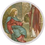 Christ And The Woman Of Samaria Round Beach Towel by John Lawson