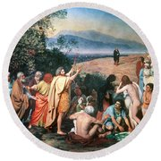 Christ Appears Round Beach Towel