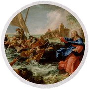 Christ At The Sea Of Galilee Round Beach Towel
