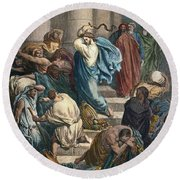 Christ At The Temple Round Beach Towel