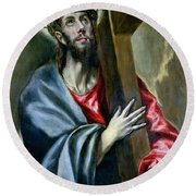 Christ Clasping The Cross Round Beach Towel