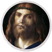 Christ Crowned With Thorns Round Beach Towel