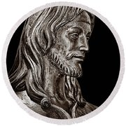 Christ In Bronze - Bw Round Beach Towel