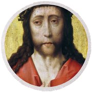 Christ In Crown Of Thorns Round Beach Towel