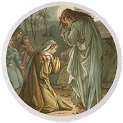 Christ In The Garden Of Gethsemane Round Beach Towel