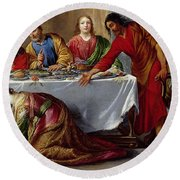 Christ In The House Of Simon The Pharisee Round Beach Towel