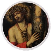 Christ Man Of Sorrows Round Beach Towel