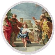 Christ Preaching In The Temple Round Beach Towel