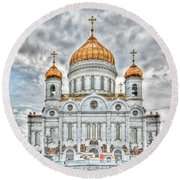 Christ The Saviour Cathedral In Moscow. The Main Entrance Round Beach Towel