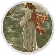 Christ Walking On The Waters Round Beach Towel