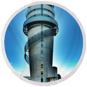 Christchurch Airport's Control Tower Round Beach Towel